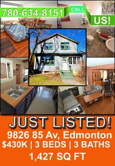 Ever wanted to live in Strathcona County? Well, here's you chance! We have our newly listed 3 bedrooms, 3 baths home selling for only $430,000! Located in the prestigious address of 9826 85 Av, this home can be yours today! CALL US TODAY! 780-634-8151. View more details here