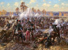 russian cossacks atack the retreading french army