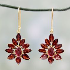 Handcrafted Gold Overlay 'Claret Tears' Garnet Earrings (India)