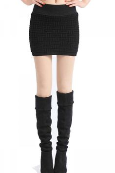 Square Grid Knitted Package Hip Skirt Black <3  online at http://www.infashion.ch/In-Fashion-Boutique-Skirts/Square-Grid-Knitted-Package-Hip-Skirt-Black.html/?refID=fashion