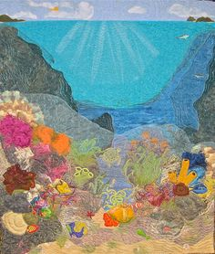 Life on the Reef Fiber Art Wall Hanging by KimsQuiltingStudio, $850.00