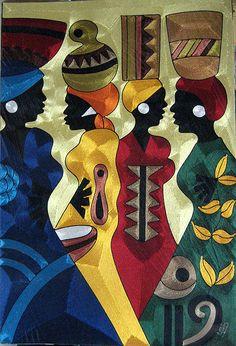 Original Silk Thread Art custom made for you by the best silk thread artist in the world, Yeb in Ghana. African Artwork, African Art Paintings, Thread Art, Silk Thread, African Quilts, Art Africain, Africa Art, Black Artwork, Black Women Art