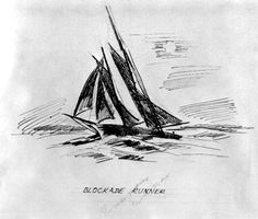 Drawing of a blockade running ship from the Civil War, by Philip Ayers Sawyer