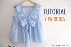 Aprender a coser: Blusa con espalda en V y volantes (patrones gratis)
