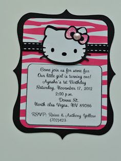 hello kitty birthday party zebra invitations; good layout for a card #cricut card