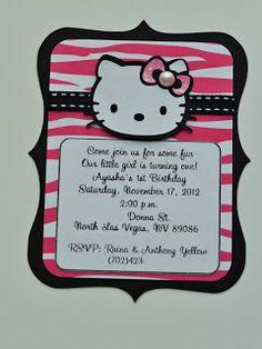 hello kitty birthday party zebra invitations; good layout for a card #cricut card