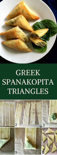 These Greek Spanakopita triangles make a fantastic vegetarian appetizer or healthy snack and can be enjoyed either warm or cold. Toddlers and school kids will love them. Learn how to fold phyllo pastry very easily, and make them as often as you like.
