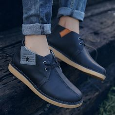 US $36 Brand Men Boots Plus Size New Genuine Leather Boots Chukka Low Cut Martin Boots Men Brand Motorcycle Boots Vintage Style Shoes