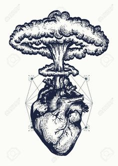 Illustration of Heart and nuclear explosion tattoo art. Symbol of love, feelings, energy. Nuclear explosion of anatomical heart t-shirt design surreal graphic vector art, clipart and stock vectors. Fake Tattoos, Body Art Tattoos, Small Tattoos, Sleeve Tattoos, Ship Tattoos, Heart Tattoos, Arrow Tattoos, Art Drawings Sketches, Tattoo Sketches