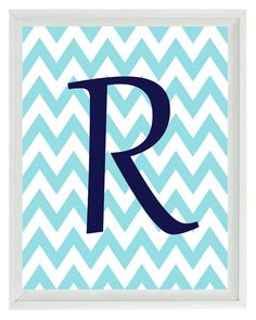 Initial Letter Chevron Art Print - Nursery Children Kid Room Aqua Navy Blue Personalized - Wall Art Home Decor 8x10 Print. $15.00, via Etsy.