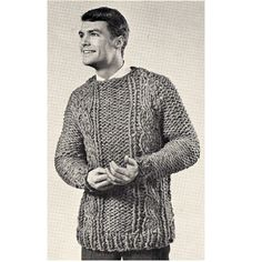 Mens Cable Panel Sweater Big Needle Knitting PDF Pattern.  This pattern is knitted with large needles, given it the loose and chunky look. It features cable stripes, bold cables and ribbing, along with a boat neck, long sleeves and well below hip length.