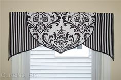 Custom Black White Damask Tulip Valance ORDER ONLY in Home & Garden, Window Treatments & Hardware, Curtains, Drapes & Valances Bathroom Window Coverings, Kitchen Window Valances, Bathroom Window Curtains, Valance Window Treatments, Kitchen Window Treatments, Bathroom Windows, Cornices, Bedroom Curtains, Bathroom Valance Ideas