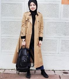 trench coat hijab style- Long and modest hijab outfits http://www.justtrendygirls.com/long-and-modest-hijab-outfits/