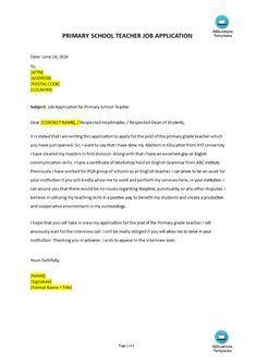Teacher Application Letter, Job Application Letter Template, Teacher Cover Letter Example, Job Cover Letter, School Application, Cover Letter Template, Teaching Skills, Teaching Jobs, Primary School Teacher