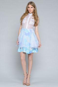 Silk pastel camouflage dress @Anne Thompson
