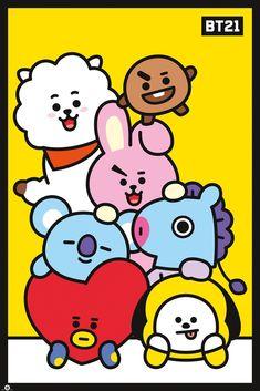 Line Friends - Pileup Poster Print Bts Chibi, Bts Cover, Game Poster, Skool Luv Affair, Kpop Drawings, Line Friends, Cute Cartoon Wallpapers, Bts Lockscreen, Bts Pictures