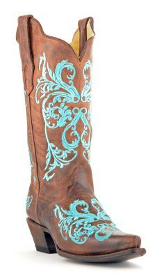 Womens Corral Dahlia Boots Brown And Turquoise #R1193