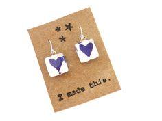 Purple Heart Glass Tile Earrings OOAK Dangle by HeidiKindFinds