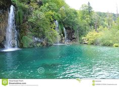 Photo about Waterfall in summer ,plidvice , Croatia. Image of house, middle, became - 63632608 Croatia, Vectors, Waterfall, Sign, River, Stock Photos, Outdoor Decor, Summer, Pictures