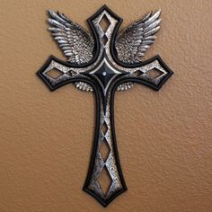 Decorative Crosses For Wall angel wings cross with brown twisted cross decor wall hanging new