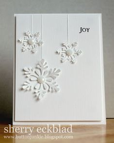 This card is made with simple snowflakes papercut. Oh so lovely. Simple, yet fascinating. This decorative papercutting book will guide to perfect your paper snowflakes >>> http://www.paperistas.com/decorative-papercutting-instructions-and-patterns-for-150-intricate-cutouts/