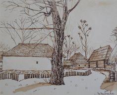 Peisaj – Nicoleta Mitrache – 203 lei | EliteArtGallery - galerie de artă Lei, Romania, Graphic Art, Snow, Gallery, Outdoor, Outdoors, Roof Rack, Outdoor Games