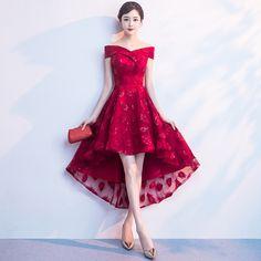 Fleepmart Robe de soiree 2020 Wine Red Elegant Evening Dresses Elegant Short Front Long Back Party Gown Dress Wedding Party Prom Dress
