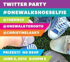 Don't miss the #OneWalkShoeSelfie Twitter Party June 2, 2014