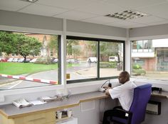 Beacon™ Large Modular GRP Building System - Attractive internal wall lining and suspended ceiling create a pleasant working environment. #ModularBuildings #GlasdonUK