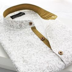 Classic white linen with the delicate floral print and the sunny yellow contrasts, in kurta style half placket! The Autumn is your to-… Gents Shirt Design, African Men Fashion, Mens Fashion, Style Fashion, Gents Shirts, Gents Kurta, Lined Flannel Shirt, Kurta Men, Kurta Style