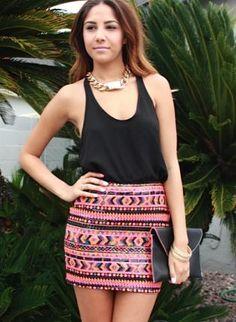 Multi Pencil/High Waist Skirt - Sequin Aztec Mini Skirt