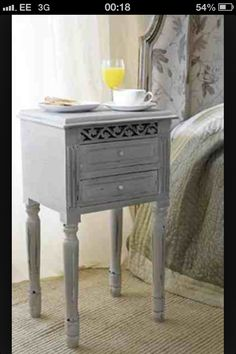 Cute grey painted bedside drawers x