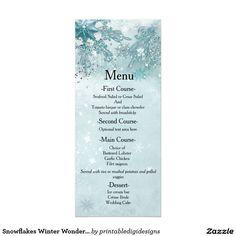 Snowflakes Winter Wonderland Wedding Menu Card