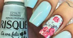 •Telefone sem Fio•   Risqué   Pinterest   Flower, Tiffany blue nails and Flower nails