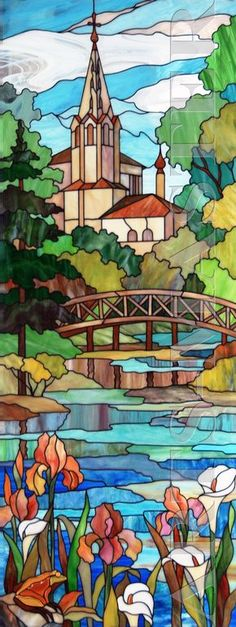 Beautiful stain glass landscape with temple!