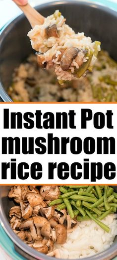 Instant Pot mushroom rice is a great side dish or add chicken and serve as a dinner. Make in any pressure cooker or Ninja Foodi. #instantpotrice #mushroomrice Cream Of Mushroom Rice, Mushroom Dish, Cooking Recipes For Dinner, Pressure Cooking Recipes, Best Vegetarian Recipes, Vegetarian Meal, Healthy Recipes, Side Dish Recipes, Side Dishes