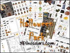Free Halloween Pack to go with several Halloween Book by 3Dinosaurs.com - For ages 2 to 7 - over 110 pages.