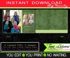 Christmas Card Template Big Family Photoshop templates Card Fully Layered PSD Photocard TaraLicious Front and Back Photo Card