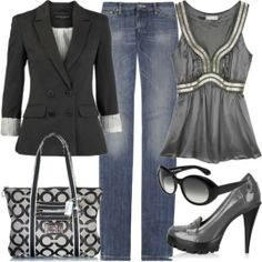 fall Work Outfit With Black Coat,Slim Straight Jeans and Grey Top