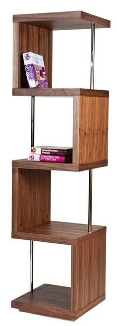 Walnut alternating shelf // perfect for corners, better than a side table #furniture_design
