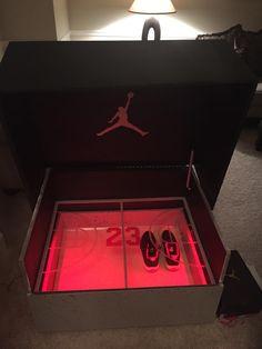 Last November, we showed you the Giant Nike Inspired Sneaker Storage Box. Jordan Shoe Box Storage, Build Shoe Storage, Storage Bins, Giant Shoe Box Storage, Rack Design, Box Design, Sneaker Storage, Sneakers Box, Diy Rangement