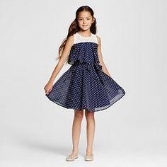 Girls' Polka Dots A-Line Dress Navy - Pinky