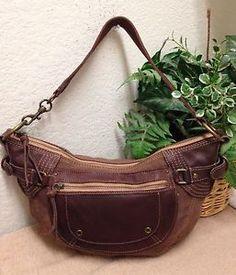 1280d8d310 Fossil Brown Canvas Leather Trim Hobo Handbag Shoulder Bag Tassels Medium  75082