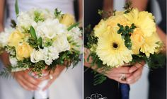 bride and bridesmaids. baby yellow flower bouquets.