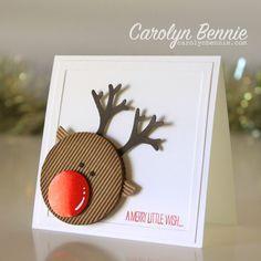 Reindeer punch art carolyn bennie independent stampin up demonstrator carolynbennie com reindeer Christmas Card Crafts, Homemade Christmas Cards, Christmas Cards To Make, Noel Christmas, Homemade Cards, Handmade Christmas, Holiday Cards, Reindeer Christmas, Christmas Punch