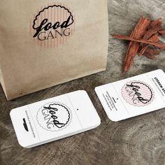 Corporate identity design for a catering company called FoodGang | Logo | Business card design | Packaging | Humurous | Feminin