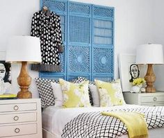 bedrooms - Jacqui Chest black white bedding blue folding screen headboard white jacqui tables nightstands yellow silk pillows wood lamps  Blue