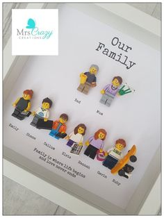 gifts for dad Personalised lego family frame Kids Crafts, Diy And Crafts, Craft Projects, Legos, Lego Display, Lego Storage, Family Gifts, Family Family, Parent Gifts