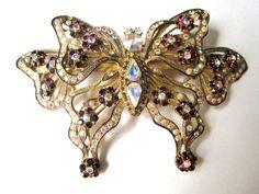 Giant Rhinestone Butterfly Brooch  #vintage #jewelry #brooch