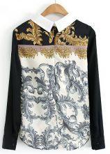 Black Long Sleeve Vintage Floral Chiffon Blouse - Sheinside.com